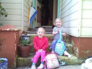 Julia and Lillian - First Day of Pre-School