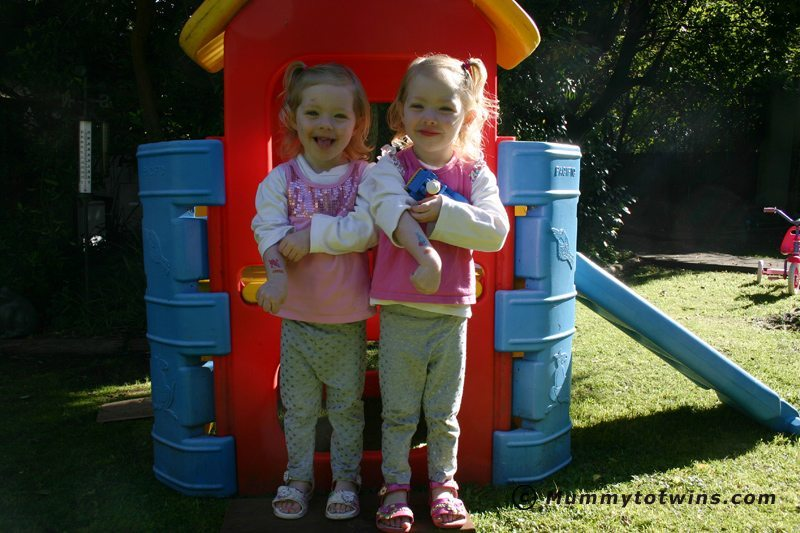Julia and Lilian on last day of school for term 1 at Pre-School. The girls were 3 years old here.