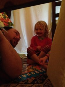 Daddy and Lillian in tent