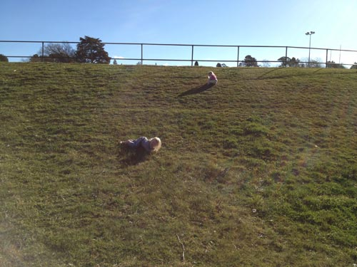 Rolling down a hill is fun!