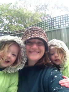 Mummy and the girls in the snow