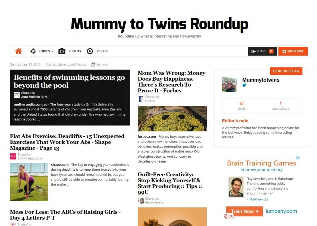 """Mummy to Twins Roundup - Rounding up what is interesting and newsworthy""""."""