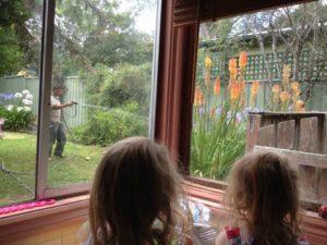 Kids watching the pest man