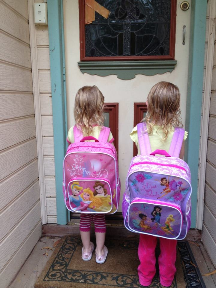 The twins new school bags