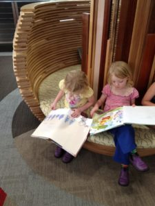 Reading books at the library
