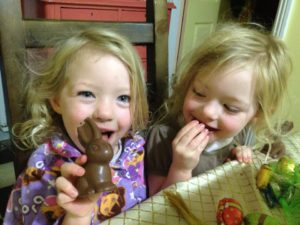Yum Chocolate! Eating the heads off bunnies