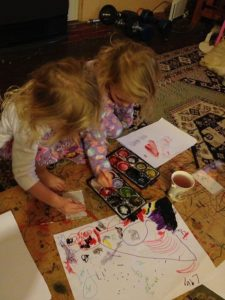 The girls have organised painting themselves. Could not wait for mummy.