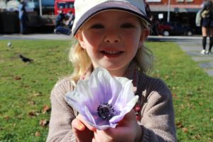 Lillian picked flowers from the garden