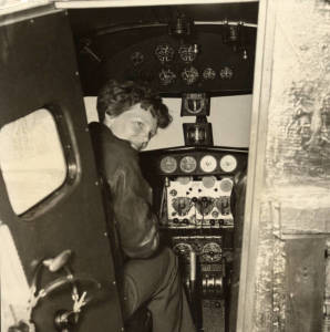 Earhart in the Electra cockpit, c.1936 (original source: http://e-archives.lib.purdue.edu)