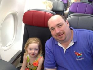 Julia and Daddy on the plane