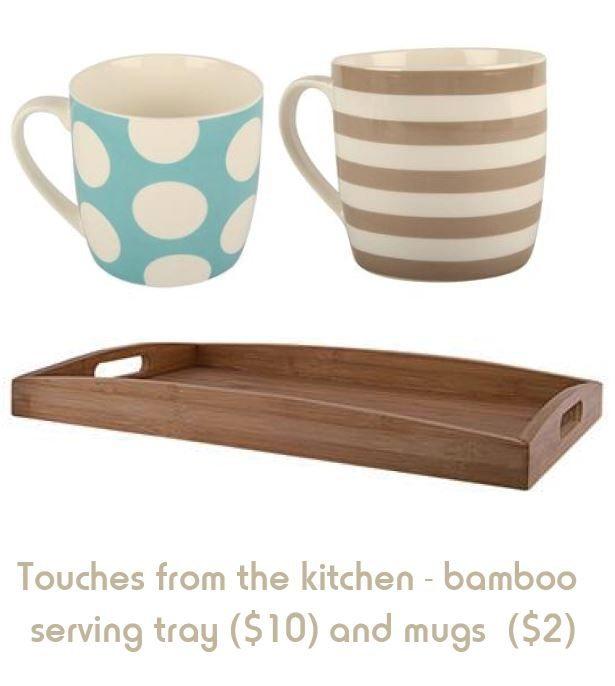 Mugs and Bamboo Tray, Kmart.