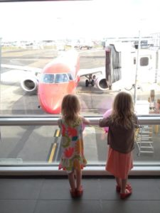 Checking out the plane while waiting