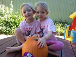 The girls and the pumpkin