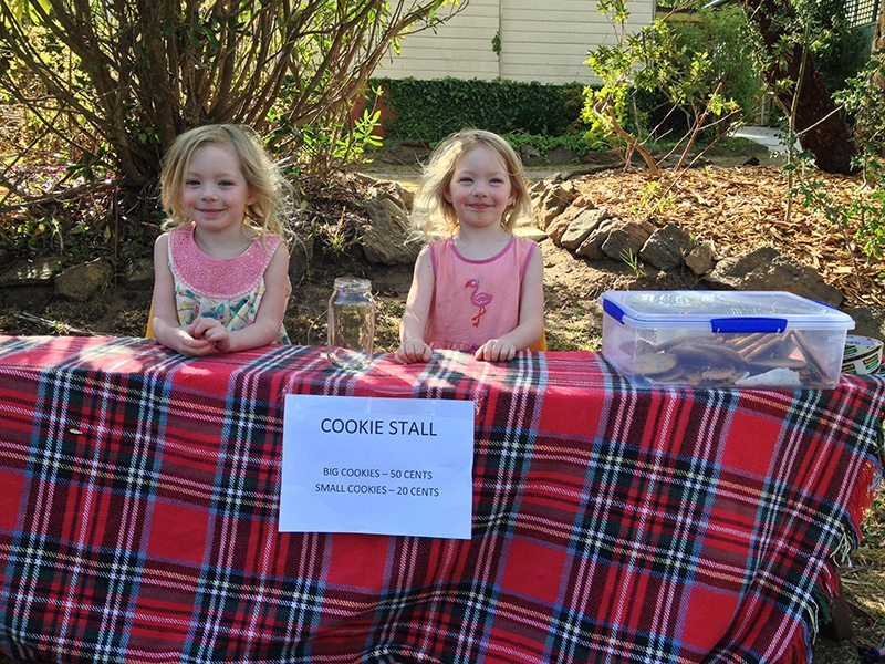 Just opening the Cookie stall. The girls are very excited.
