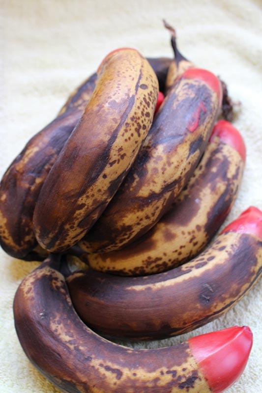 Over ripe bananas, just ready to be made into banana bread.