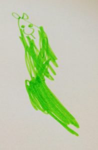 Green cat drawn by Lillian