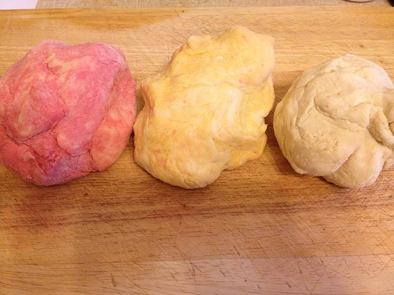 My different coloured dough for the wrappers. Beetroot on left, Carrot in middle and Plain on right