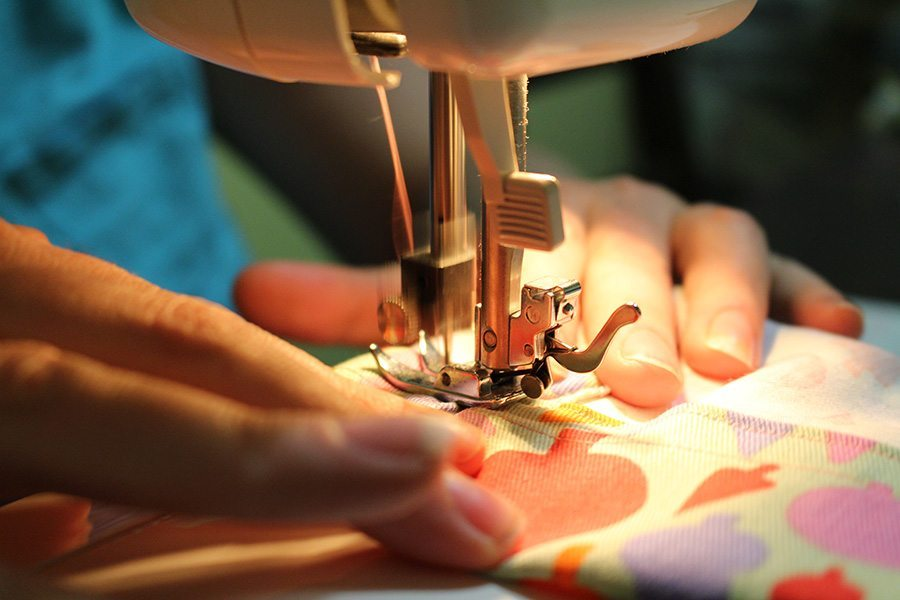 Sewing the casing