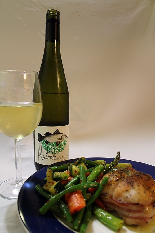 Another fancy meal, hubby is getting used to this. Chicken parcels wrapped in bacon & stuffed with pumpkin, fetta & spinach. Wine is Alastair McLeod Riesling 2010