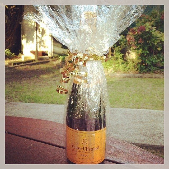 The wonderful bottle of Veuve Clicquot photographed in my backyard. Now it is icy cold in my fridge!