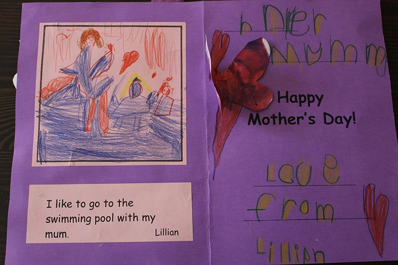 Lillian's card for Mother's Day