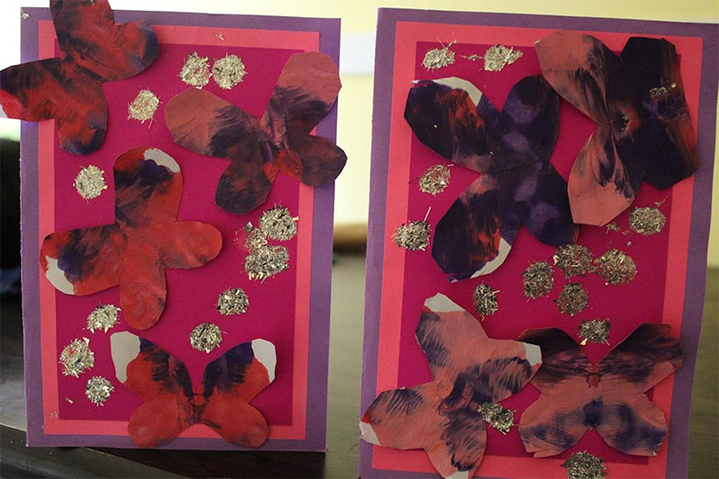 The twins Mother's Day cards they made at school