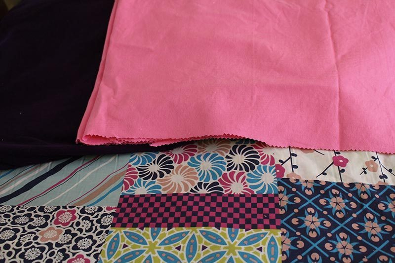 The fabric I used for the skirts. The pink and purple are cord and the pattern one is cotton. Will use the purple one for another project.
