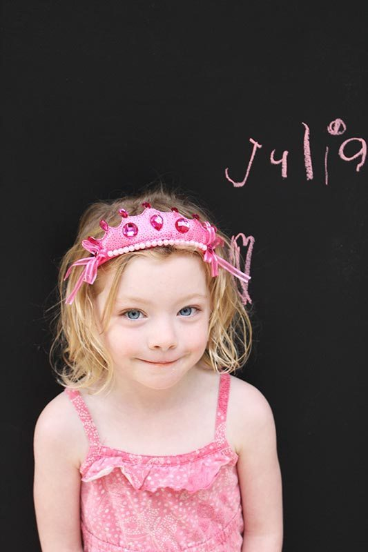 Julia very pleased with her new blackboard.