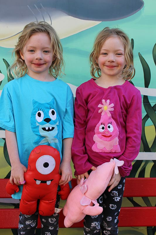Happy girls with their new Toodee and Foofa shirts.