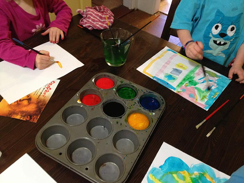 Having fun painting. Such creative artists.
