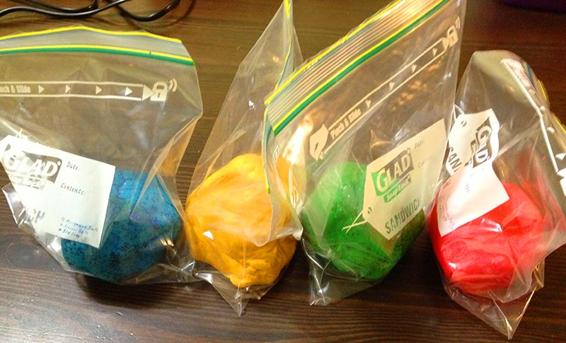 Playdough - In resealable bags so that the dough remains fresh and does not dry out.