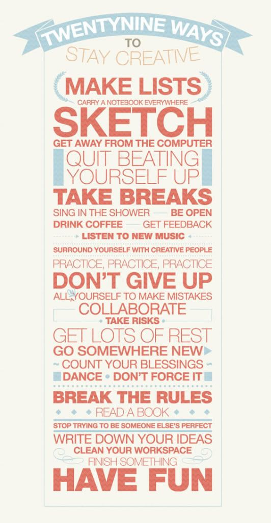 29 Tips to stay creative. Image found on Pinterest.