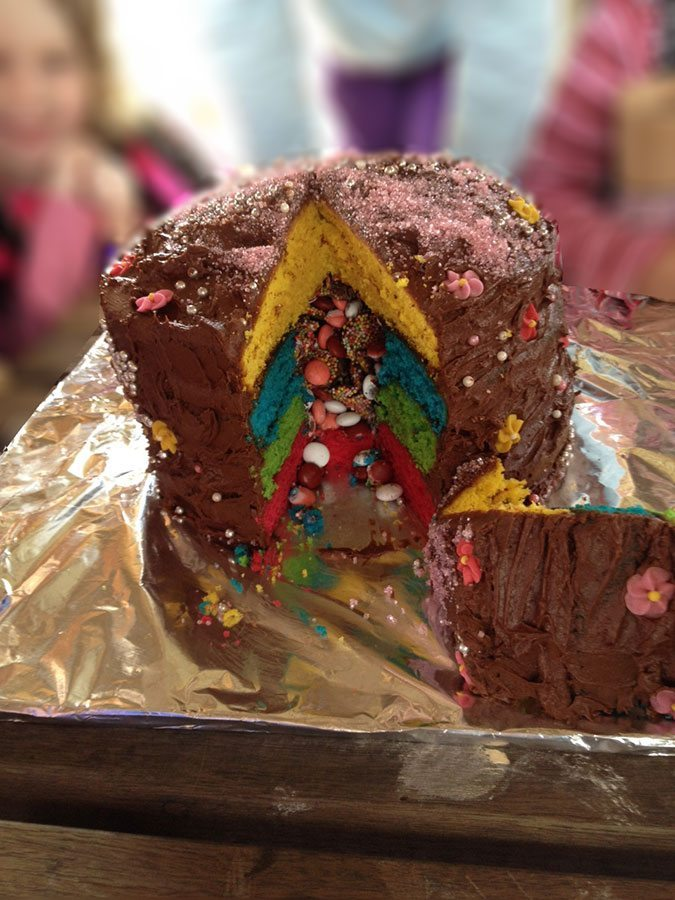 The incredibly huge and colourful cake!