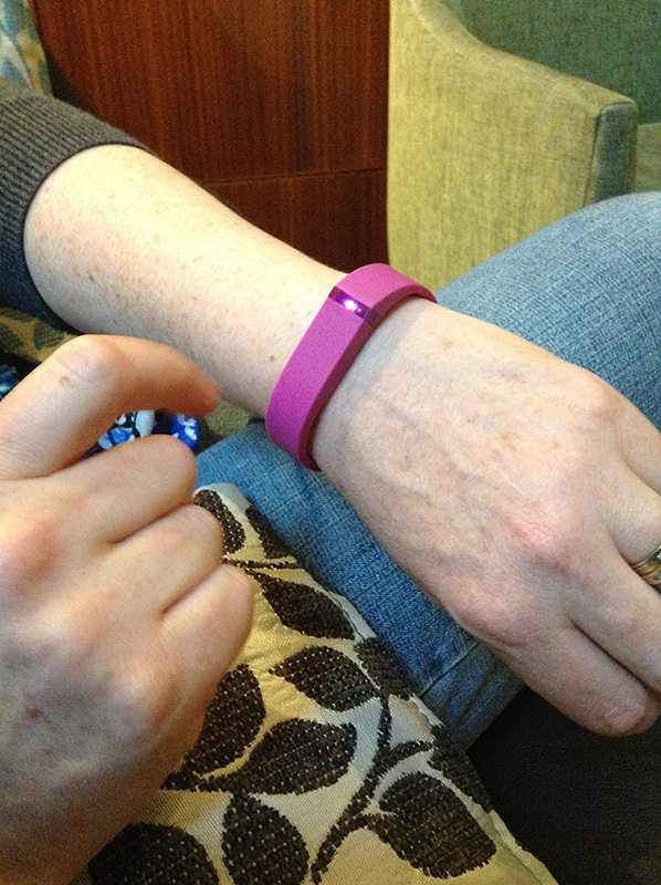 My new Fitbit Flex. I got pink as a change from black. I had a black Fitbit Zip. Plus the girls love pink!