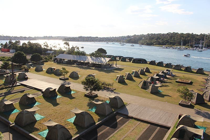 View of the tents on Cockatoo Island. Our tent was near the water. What a wonderful view!