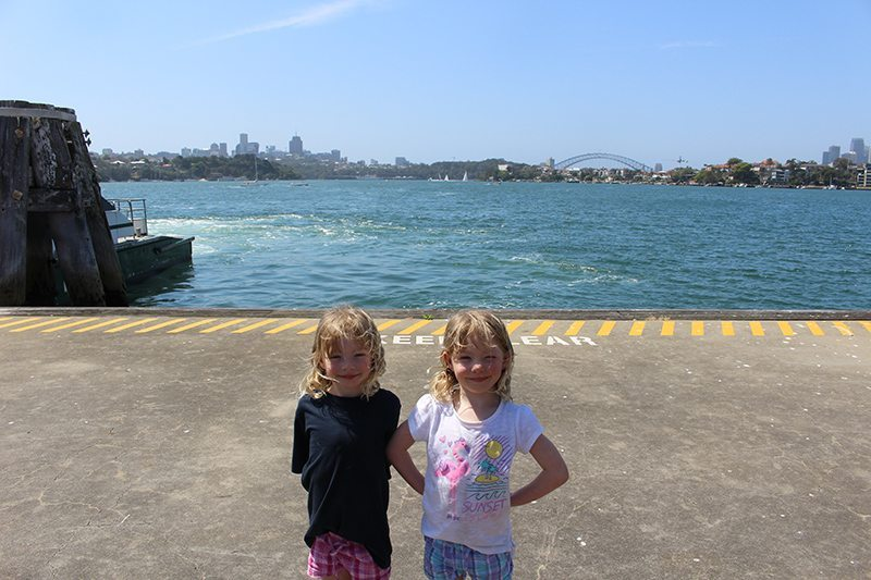 The girls on the wharf waiting for our ferry back to the city.