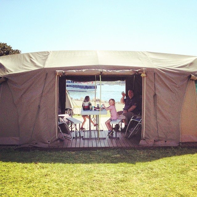 Our tent when we were glamping on Cockatoo Island