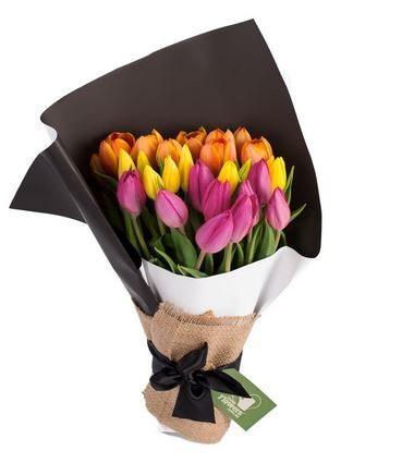 20x Multi-Coloured Tulips In Bouquet