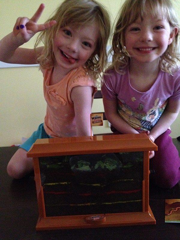 Happy kids with their new worm farm.