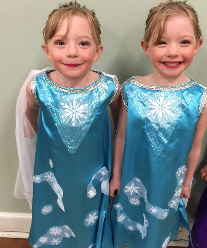 The girls as Elsa  from Frozen for their ballet concert. This was taken at the kids dress rehearsal.