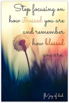 Stop worrying about your stresses and focus on your blessings.