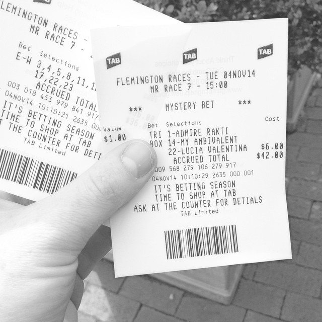 Are these the winning tickets? I have a mystery bet on. It would be great if that won. How amazing would that be!