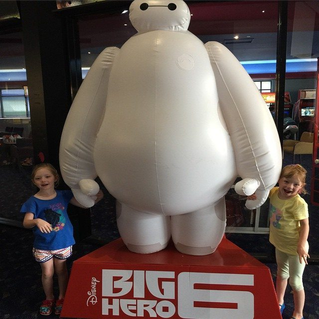 The kids with Baymax at the movies