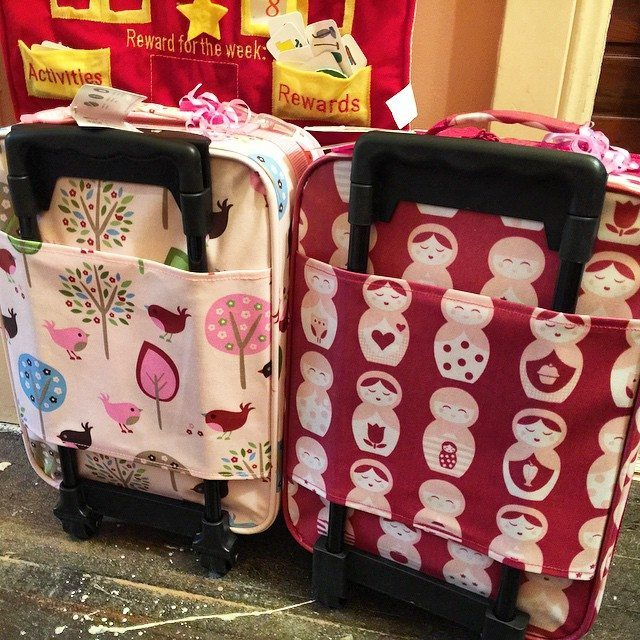 The twins new luggage! All packed and ready for their trip to Coffs Harbour. They cannot wait to be on the plane and the fight for the window seat has begun!