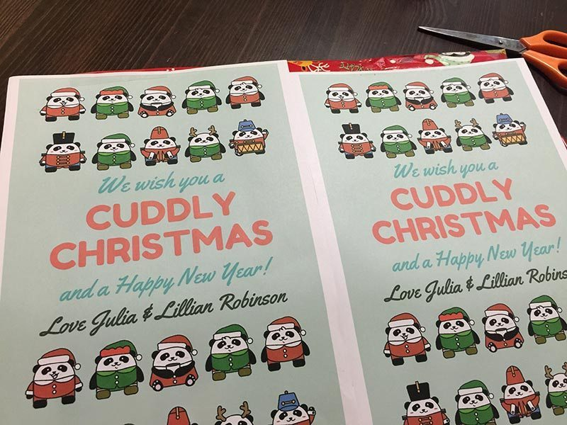 All wrapped up and with Panda cards. The kids are in a class called the Kinda Pandas so this was so cool I found this online.
