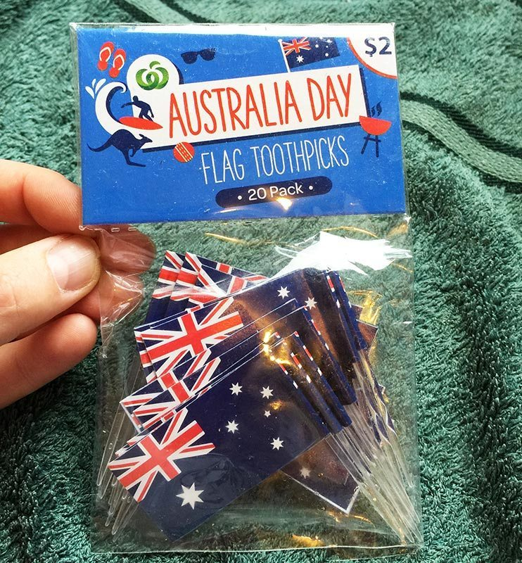 Australian Flags for our Chocolate Crackles. I picked these up for $2.00 at the local supermarket.