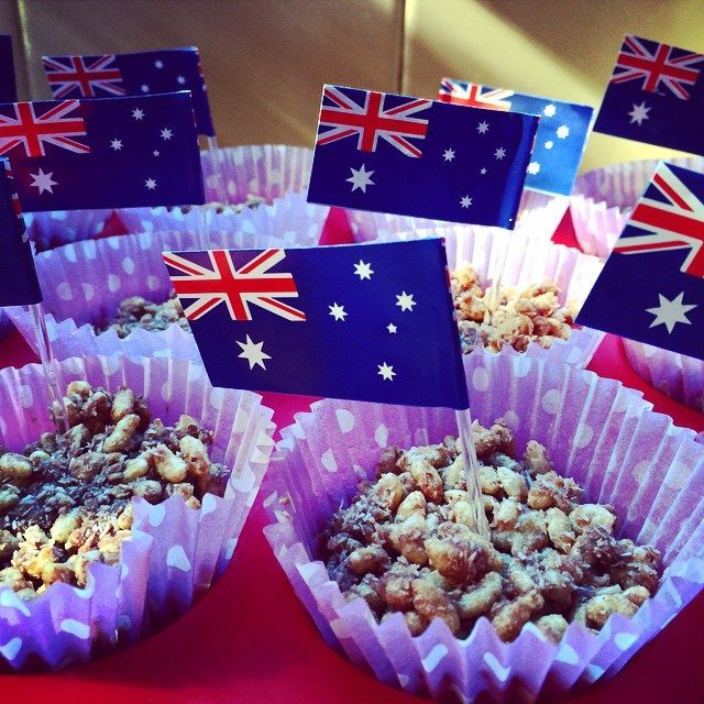My finished chocolate crackles all ready for Australia Day. Yum!