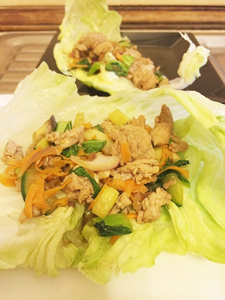 The finished product, ready to eat! San Choy Bau.