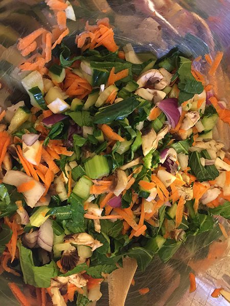 Chopped veggies ready to be cooked