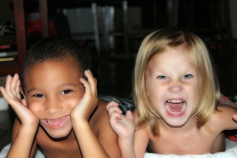 This picture shows how this morning went. Giggles, games, and silliness and no getting ready for school!
